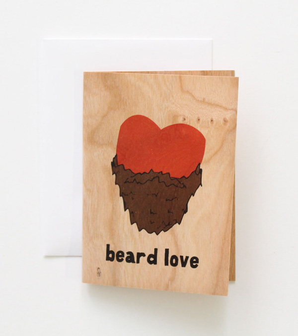 wooden greeting card beard love red heart wearing a beard sustainably printed and made denver colorado