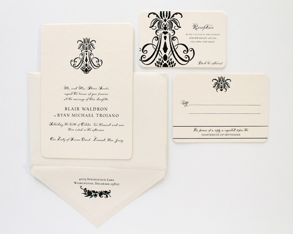 black on white letterpress denver colorado winter wedding classic timeless elegance printed envelope chandelier design