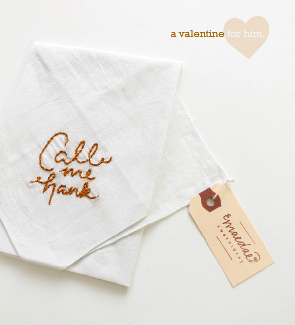 valentine's day gift for him naughty and nice hand crafted hand embroidered script typography handkerchiefs denver colorado boulder