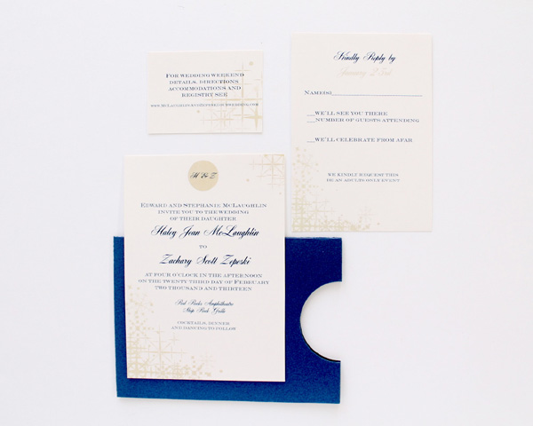 wedding invitation blue envelope winter wedding blue typography