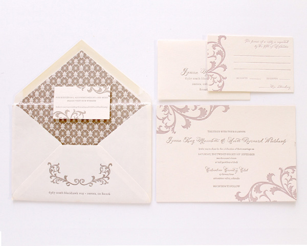 patterned envelope insert customized wedding invitation denver colorado filligree pattern calligraphy letterpress classic brown neutral