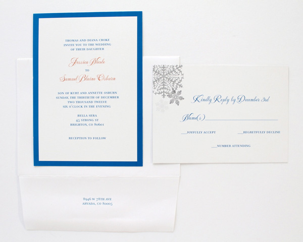 blue border calligraphy snowflake letter pressed custom denver wedding invitation colorado wedding snow day vows white and blue text rsvp