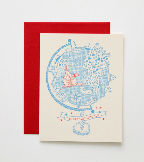 lost with you red envelope beige sustainably printed card valentine's day denver wordshop
