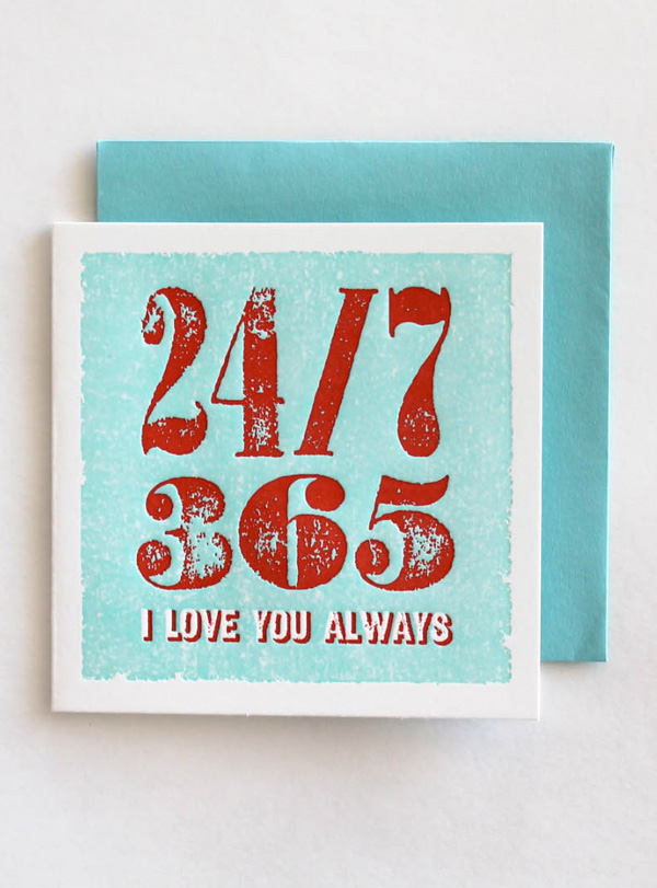 block type red on blue i love you valentine's day greeting card sustainably printed eco friendly soy based ink