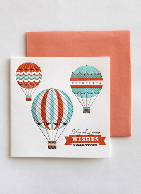 letterpress carnival hot air balloon love non traditional sustainably printed soy based inks newlyweds coral envelope