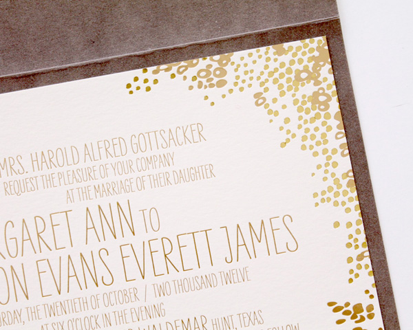 custom wedding invitations denver gold foil letterpressed stamped in folding envelope metallic gold hand lettering