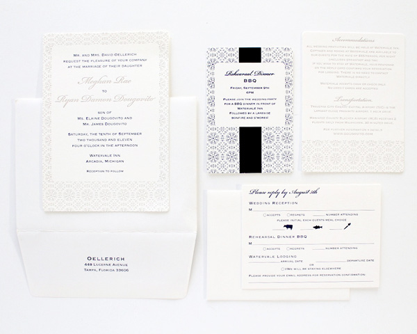 winter letterpressed custom wedding invites snowflake pattern and detail navy and ivory rsvp invitation directions to ceremony program
