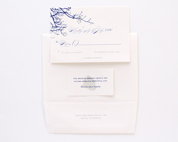blue tree branches winter wedding custom invitation denver calligraphy aspen leaves colorado inspired