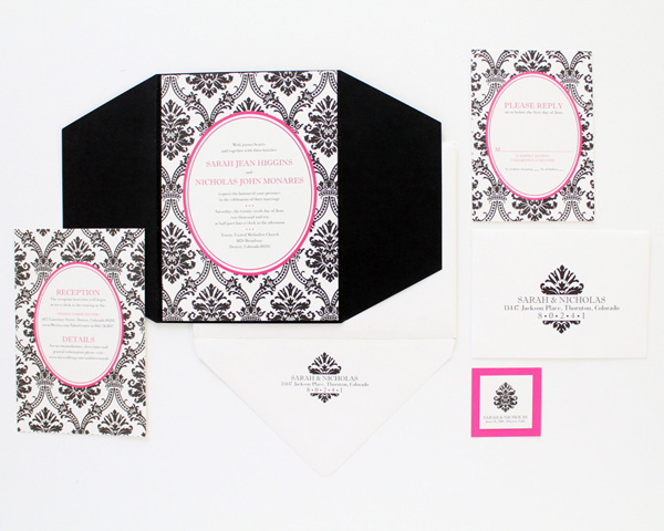 denver custom wedding invitation black on white hot fuschia pink filligree