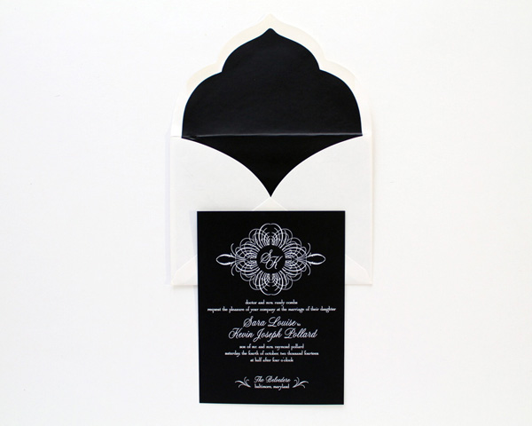 custom wedding invitation letterpressed white on black calligraphy scalloped envelope black insert