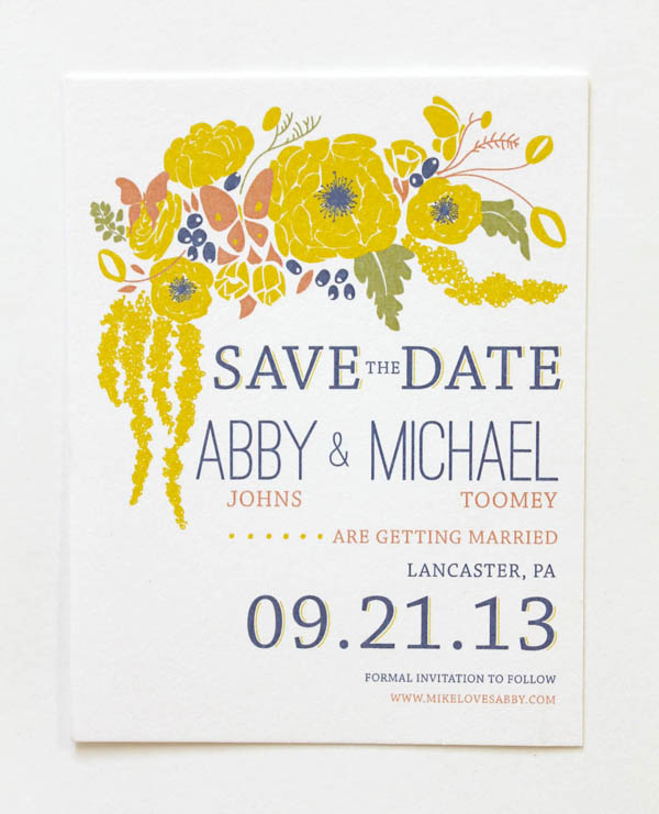 yellow hand illustrated folk floral save the date barn wedding vintage inspired western rustic colorado custom denver wedding