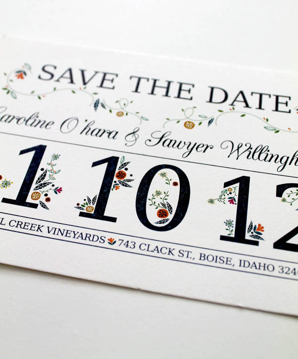 save the date custom design design colorado highlands folk floral barn wedding flowers wrapping around text