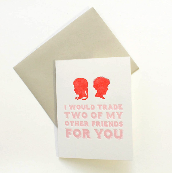 letterpress sycamore street press valentine's day card block typography pink and red silhouette of boy and girl