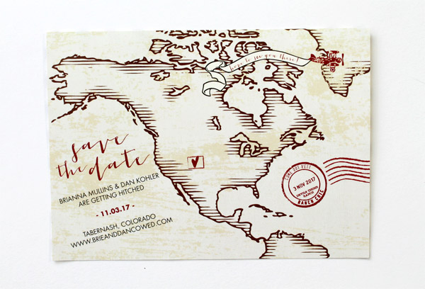map save the date with heart marking ceremony location