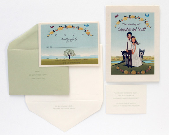 Custome Illustrated Wedding Invitations