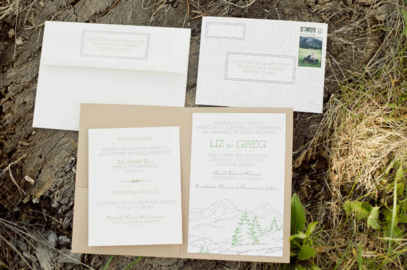 Rustic Western Mountain Scape Wedding Invitations