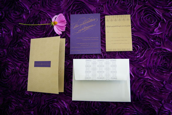 Custom Letterpress Gold Wedding Invitations