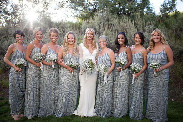 Rustic Glam Wedding | Grey Shimmer Bridesmaid Dresses