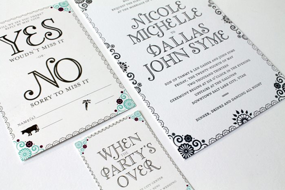 Letterpress Mexican Themed Invitations