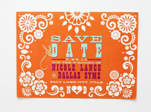 Mexican Flag Papel Picado Save the Date Postcard