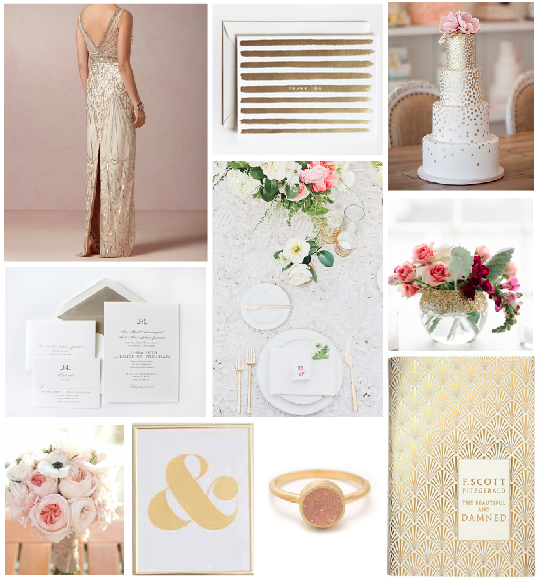 Gold and blush wedding inspiration color board