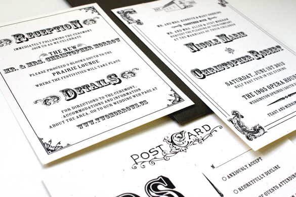Black and White Western Vintage Wedding Invitations