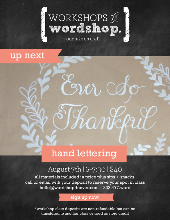 hand lettering class workshop in dnever