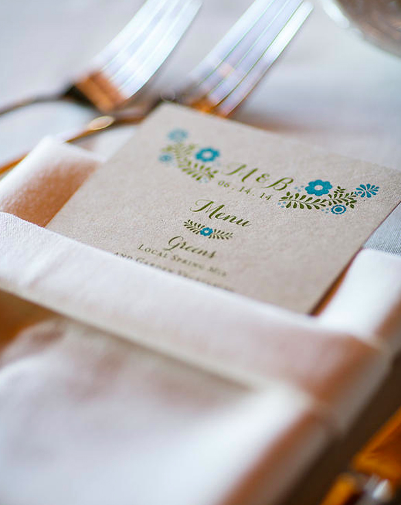 Kraft Paper Wedding Menus
