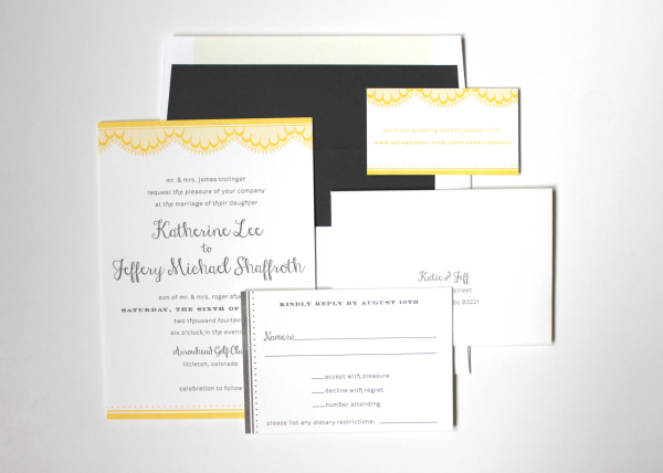 Yellow and Grey Letterpress Wedding Invitations