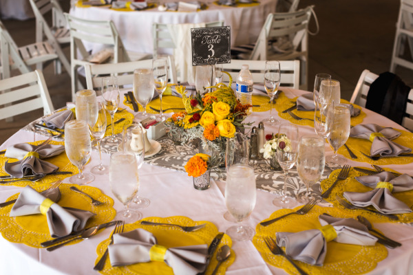 Yellow and Grey Wedding Table Setting