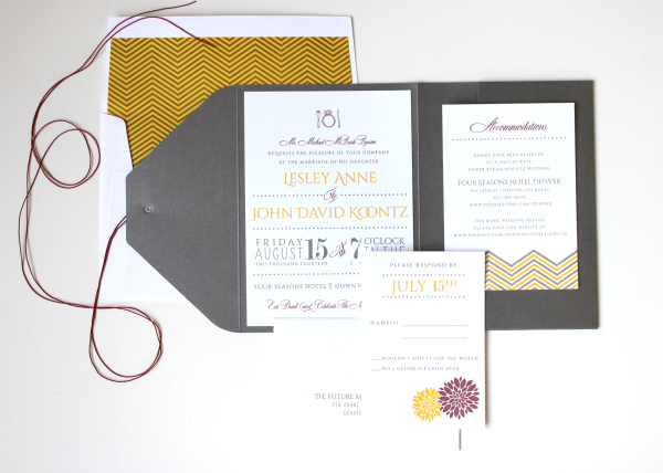 Modern Chevron Letterpress Wedding Invitations