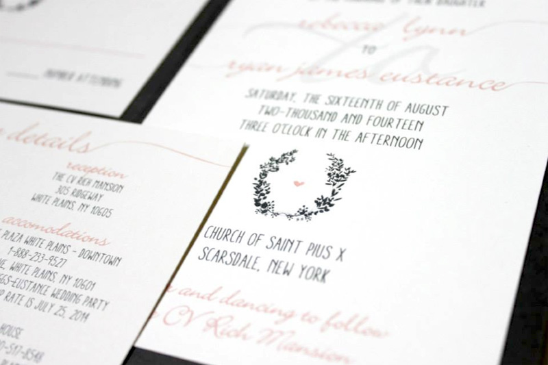 Blush and Grey Custom Wedding Invitations Denver