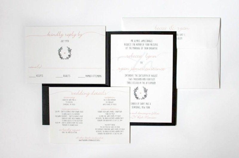 Custom Blush Hand Lettered Style Wedding Invitations Denver