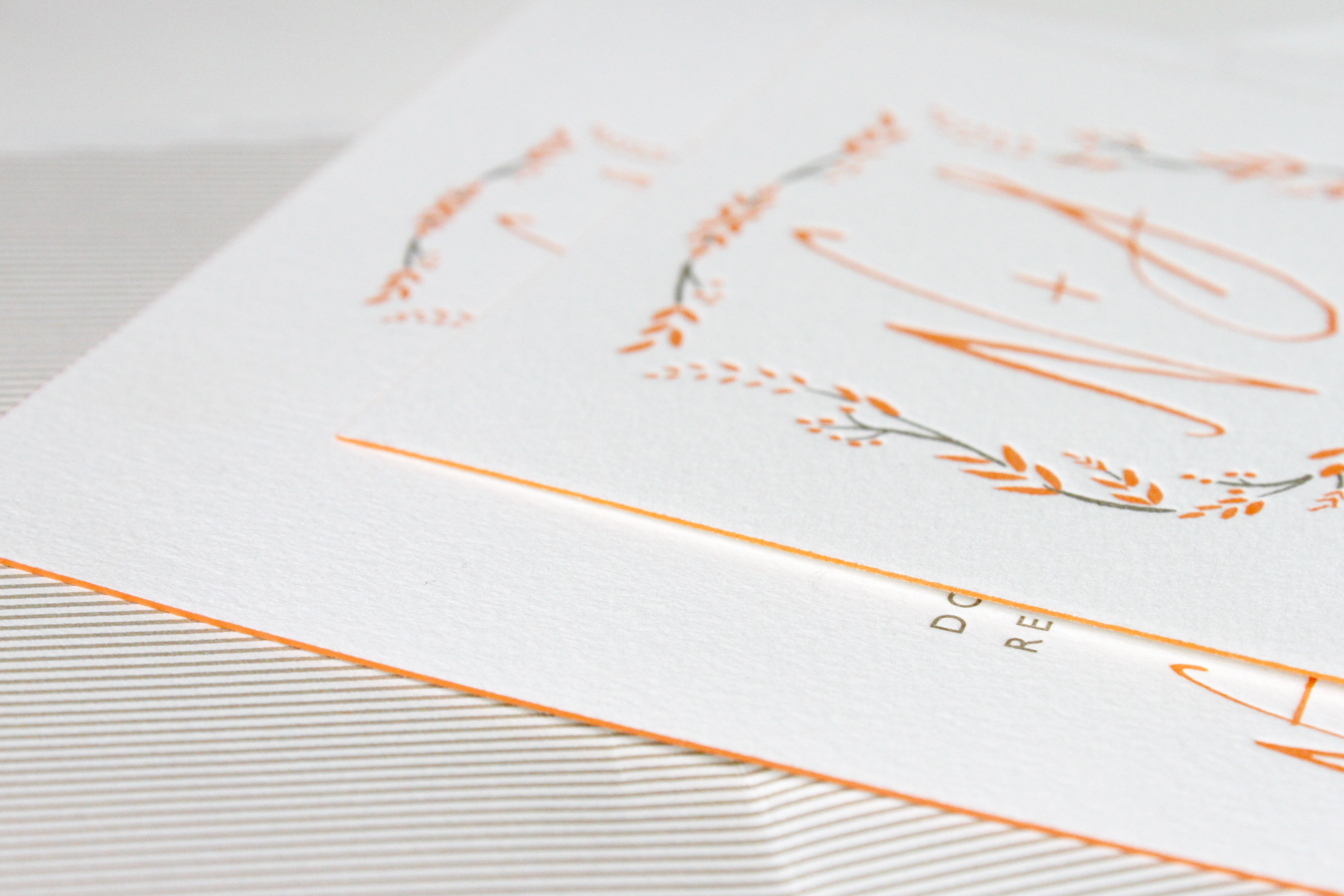 Coral ddge painted letterpress wedding invitations | via Wordshop, Denver CO