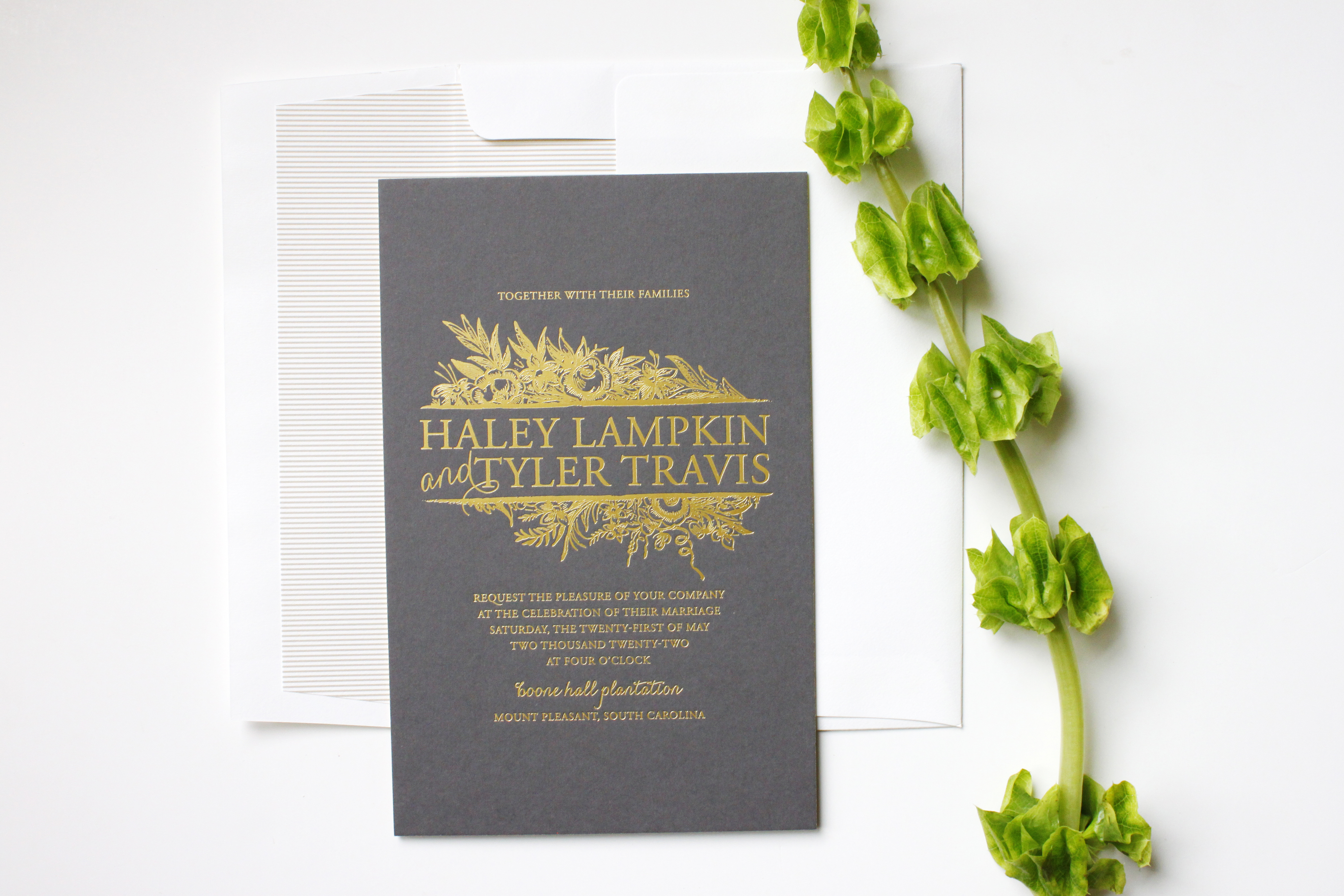 Dark grey wedding invitation with printed gold foil lettering | via Wordshop, Denver CO