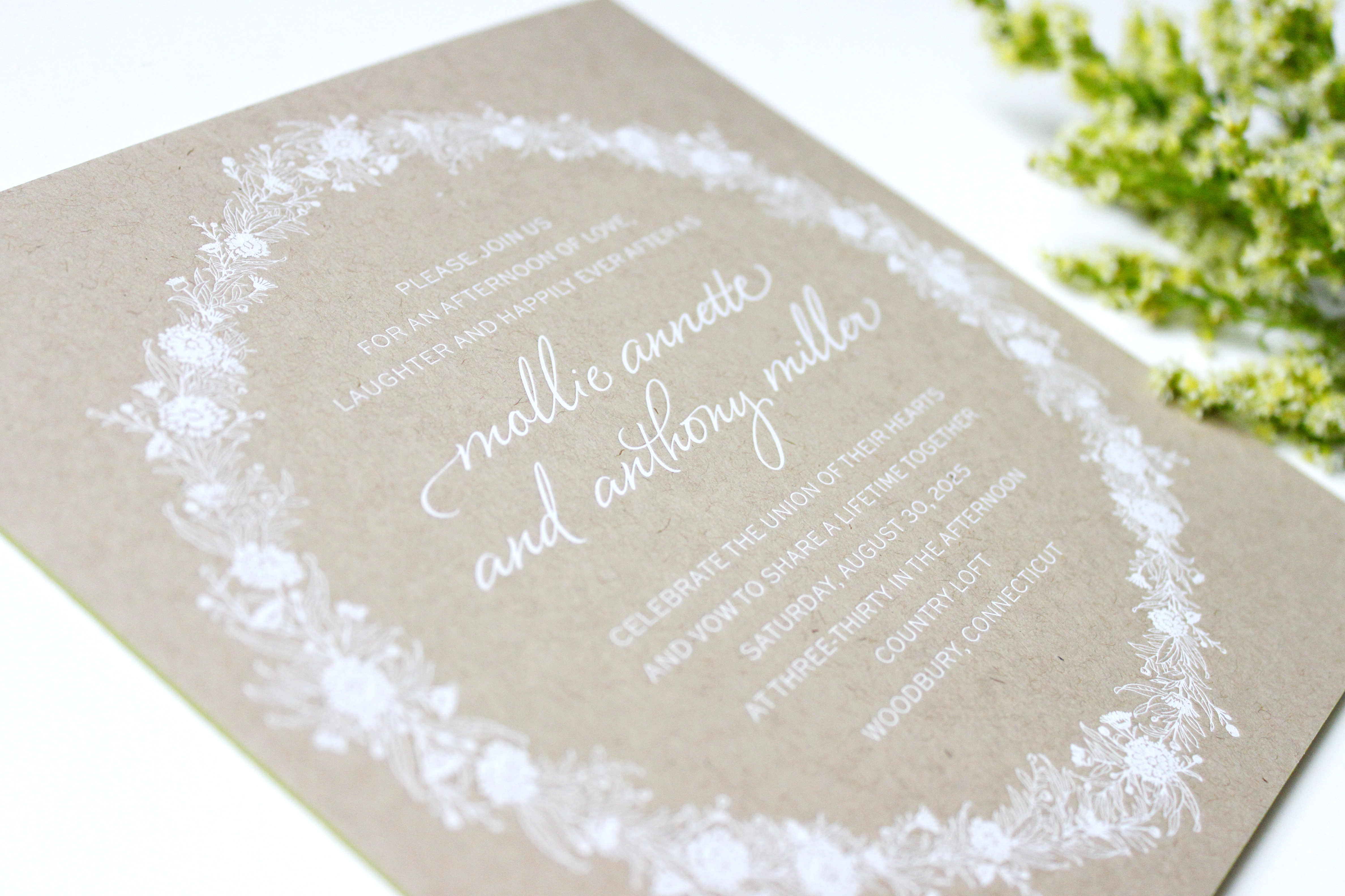 Square kraft invitation with white letterpress ink | via Wordshop, Denver CO