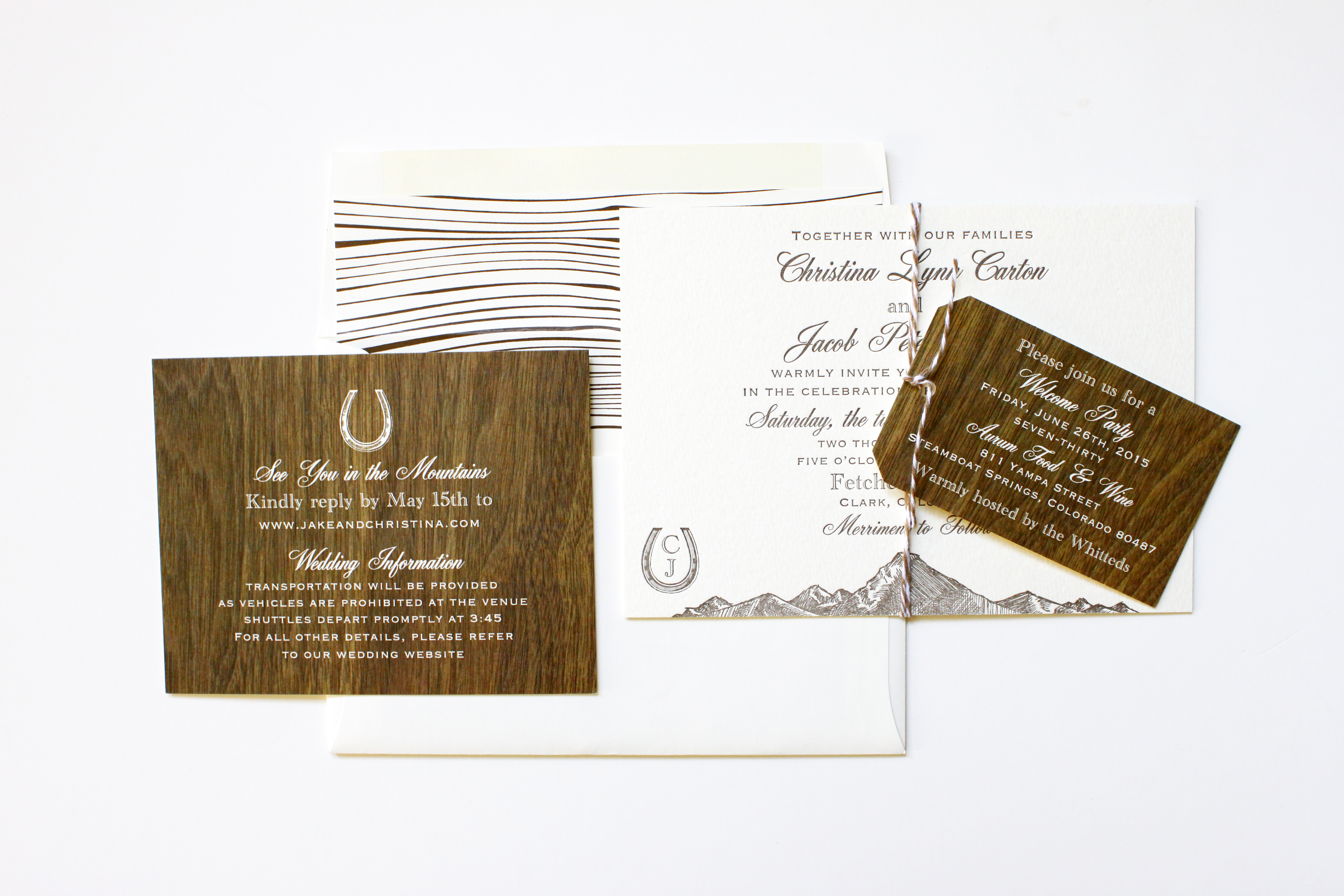 Wood printed rustic mountain weding invitations | via Wordshop, Denver CO