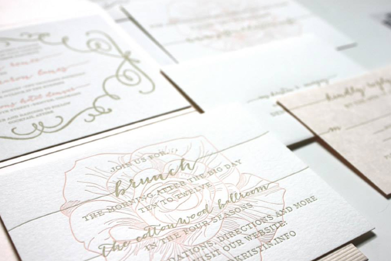 Denver Custom Letterpress Wedding Invitations