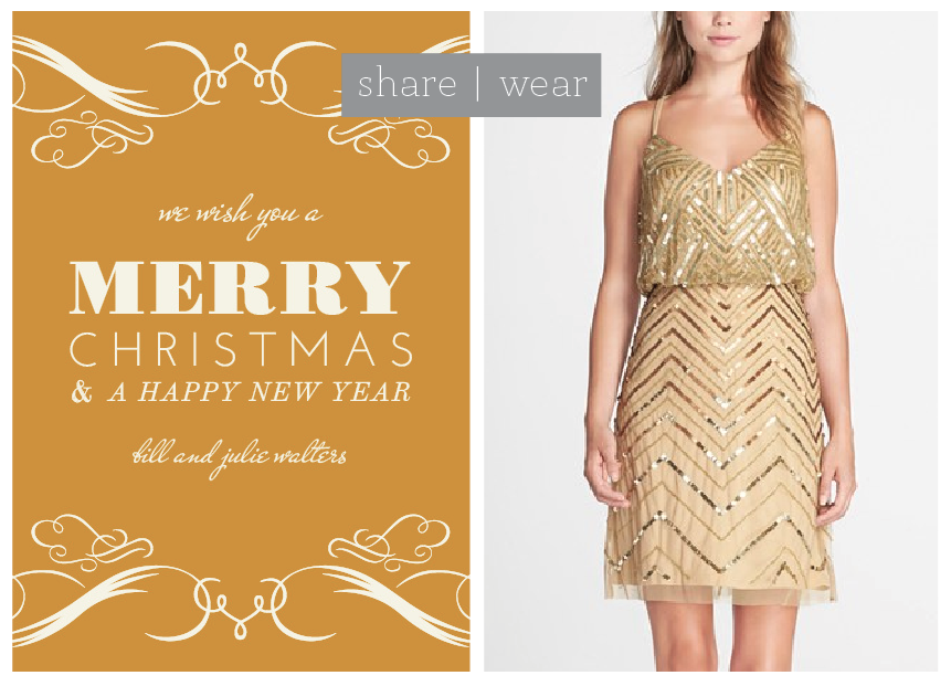 This gold sequin party dress goes perfectly with custom gold holiday cards and invitations.