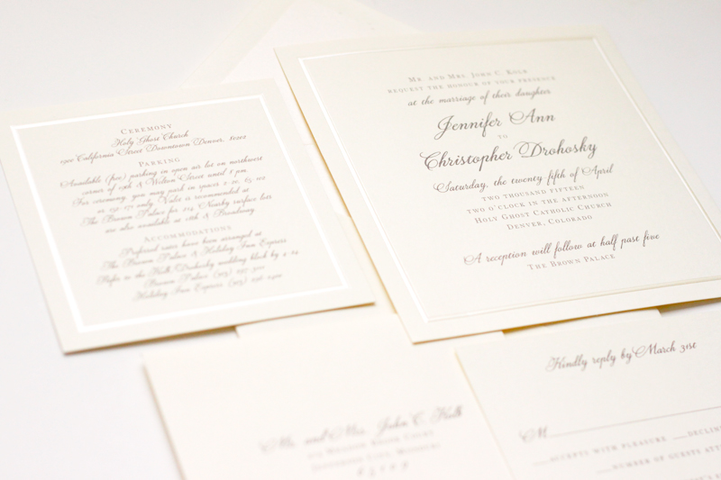 Classic thermography ivory wedding paper invitations