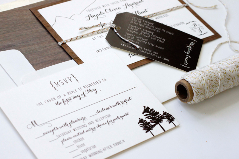 Colorado Wood Wedding Invitations | via wordshop Denver