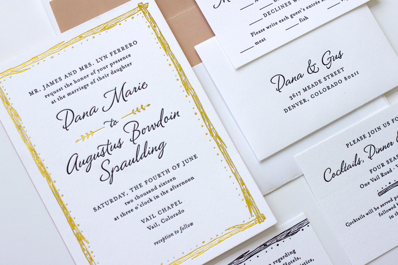 Rustic elegant mountain wedding invitations printed with gold foil