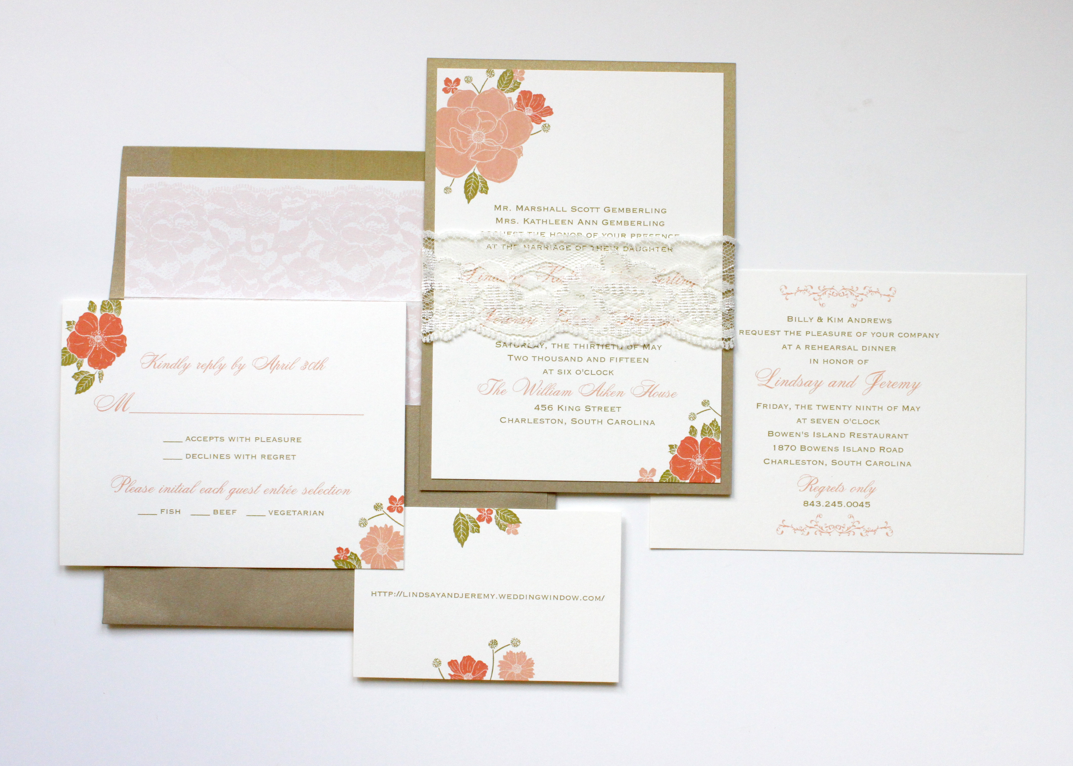 Kraft With C And Lace Belly Band Wedding Invitation Via Word Denver Co