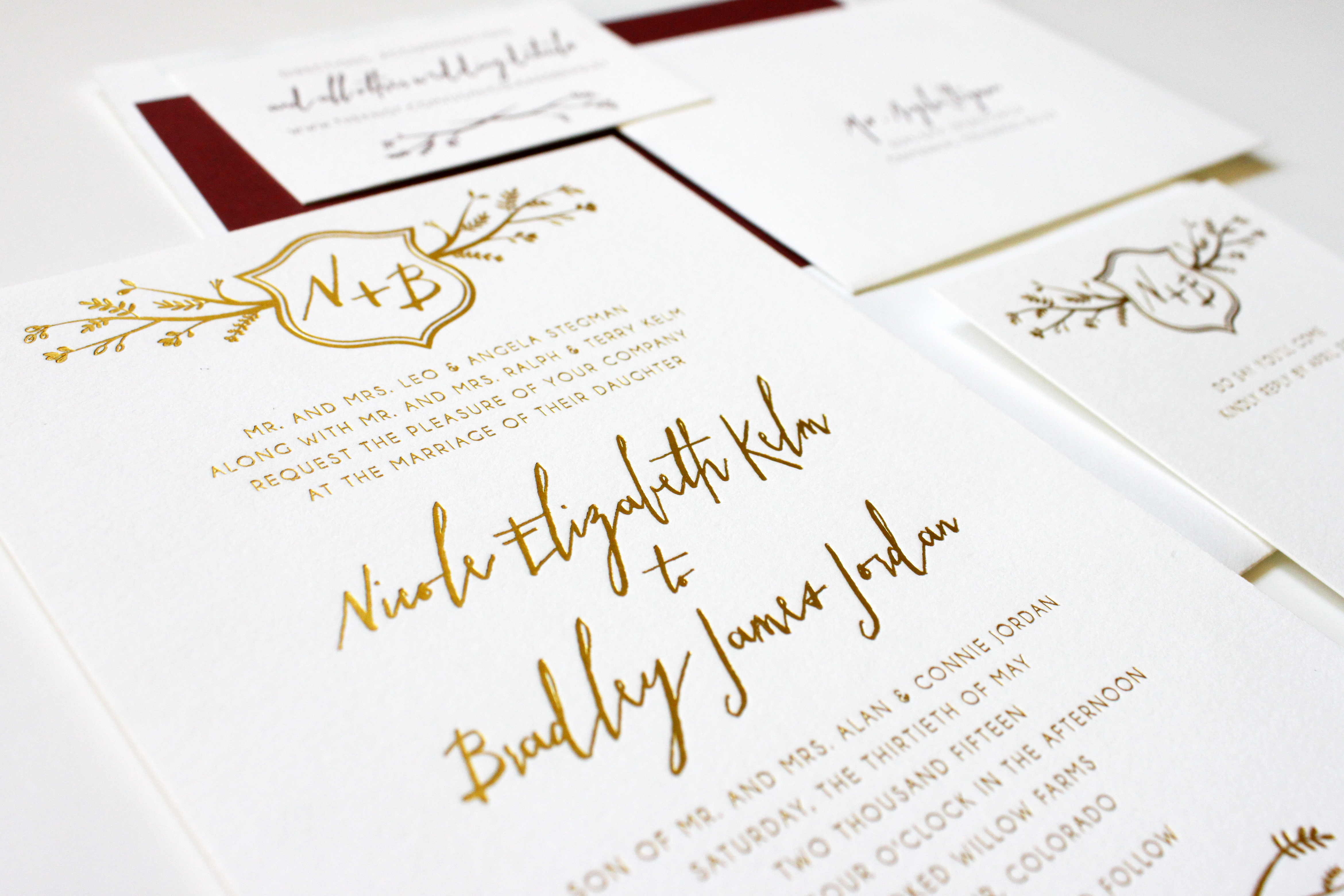 Rustic Modern Gold Foil And Burgundy Wedding Invitations